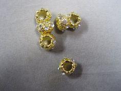 "Perles intercalaires rondes strass ""PANDORA"" 12x5mm trou 5mm"