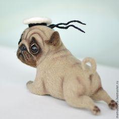 Купить Моряк - белый, мопс, мопсик, собака, собака из шерсти, море, моряк, морской стиль