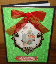 Christmas card made using La Pashe's book at bedtime sheet