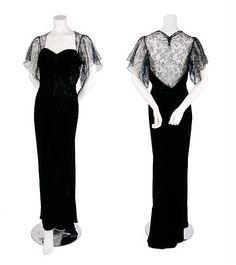 Molyneux Black Velvet Evening Gown, 1930s