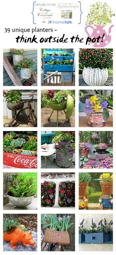 Think Outside the Pot - Creative Planter Ideas eclecticallyvintage.com
