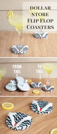 DIY Cute Summer Margarita Coasters from Dollar Store Flip Flops - Shrimp Salad Circus
