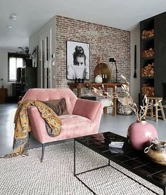Inspirational ideas about Interior Interior Design and Home Decorating Style for. - Inspirational ideas about Interior Interior Design and Home Decorating Style for Living Room Bedroo - Home Living Room, Apartment Living, Interior Design Living Room, Living Room Designs, Living Spaces, Interior Livingroom, Apartment Interior, Interior Paint, Living Room Brick Wall