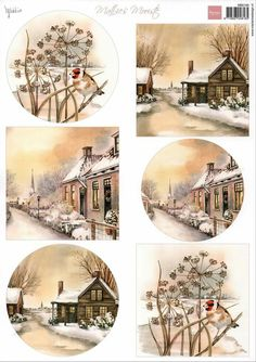 An sheet of cardtopper illustrations to cut out and assemble on your greeting cards and scrapbook pages. Vintage Christmas Images, Christmas Pictures, Christmas Art, Vintage Images, Christmas Decorations, Christmas Gift Tags Printable, Christmas Printables, Decoupage Vintage, Decoupage Paper