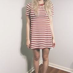 orange + white striped shirt dress orange + white striped shirt dress. size medium, but fits like a small. brand is Iris. new with tags ✨ not forever21, from a small boutique Forever 21 Dresses Mini