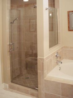 The Shower Door Source Gallery - OKC. Could do master bath shower/tub like this