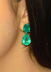 33.18ct NATURAL COLOMBIAN EMERALD DANGLE EARRINGS 18K GOLD Angelina Jolie Oscar~B Hills Housewives Emerald Earring