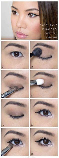Urban Decay Naked Palette Everyday Eye Makeup The Beauty Vanity Asian Eye Makeup, Natural Eye Makeup, Eye Makeup Tips, Smokey Eye Makeup, Korean Makeup, Makeup Ideas, Makeup Eyeshadow, Makeup Hacks, Makeup Brushes