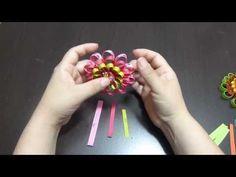 flor de puntas en cinta para el cabello paso a paso. Novo modelo de flor colorido Passo a Passo - YouTube