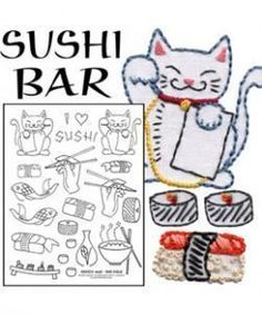 Sushi Bar embroidery pattern