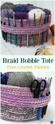 Crochet Yarn Basket Free Pattern-#Crochet #HookCase & Holders Free Patterns by candy