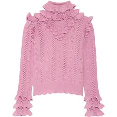 GucciRuffled Pointelle-knit Wool-blend Sweater (€1.355) ❤ liked on Polyvore featuring tops, sweaters, baby pink, pink ruffle top, polo neck sweater, gucci sweater, turtleneck top and pink turtleneck sweater