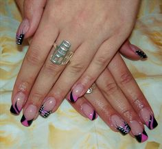 Pink and black corset nail art