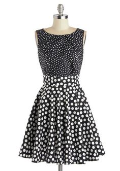 Pop Fizz Dress - Black, White, Polka Dots, Party, A-line, Better, Cotton, Woven, Mid-length