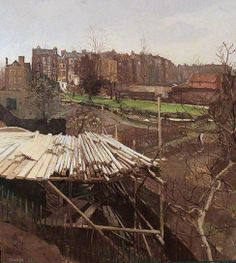 Church Row Gardens, Hampstead, London by Donald Chisholm Towner 1933 Oil on Canvas (Lotherton Hall, Leeds Museums and Galleries) Farm Paintings, Your Paintings, Beautiful Paintings, Urban Landscape, Landscape Art, Landscape Paintings, Landscapes, London Painting, Urban Painting