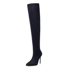 c8a24fac5 906 5fashion Winter Women Thigh High Boots Pointed Slim Stretch Suede High  Heeled Knight Boots Solid Color Sexy Stiletto Heels Drop Shipping  Motorcycle ...