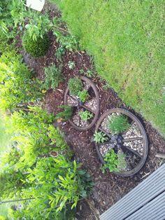 Altes Wagenrad als Kräuterbeet