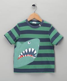 Lilly & Sid - Green Stripe King of the Sea Tee - Toddler & Boys