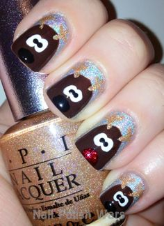 I love the Rudolph nail with the red sparkly nose!
