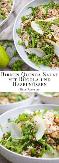 Birnen Quinoa Salat mit Rucola und gerösteten Haselnüssen Simple recipe for pears Quinoa salad with arugula and roasted hazelnuts (vegan, vegetarian, gluten-free) healthy recipes vegetarian Elle Republic Healthy Gluten Free Recipes, Healthy Salad Recipes, Vegetarian Recipes, Vegan Vegetarian, Pear Recipes, Mexican Food Recipes, Ethnic Recipes, How To Roast Hazelnuts, Healthy Vegetarian Recipes
