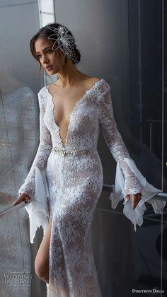 "dimitrius dalia 2018 royal long bell sleeves deep v neck full embellishment slit skirt sexy elegant sheath wedding dress sweep train (5) zv mv -- Dimitrius Dalia ""Royal"" Wedding Dresses | Wedding Inspirasi #wedding #weddings #bridal #weddingdress #bride ~"