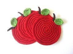 Red Apple Crochet Coasters Cherry Wine Carmin by MariMartin