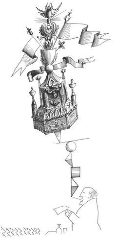 Ink Drawing by Saul Steinberg