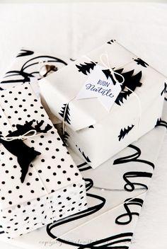adorna tus regalos con siluetas en negro