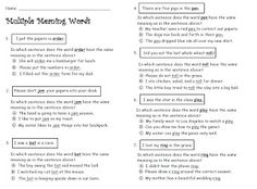 Multiple Meaning Worksheet 2 - Matching | Worksheets, Vocabulary ...