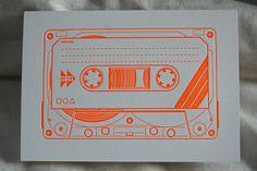 Letterpressed cassette tape design on enormouschampion greeting card