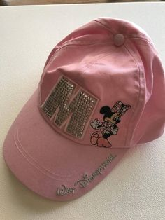 Minnie Mouse Pink Baseball Cap Hat Embroidered Rhinestones Silver Bling  Adult  WaltDisneyWorld Pink Baseball Cap c583352c2ed6