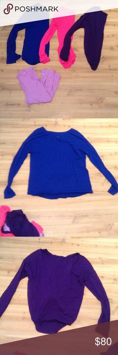 Offer $60-- Size Medium Under Armour Bundle Under Armour bundle all size medium. The blue long sleeve is loose fit, the pink long sleeve is fitted, the purple long sleeve is loose fit and currently bundled in the back and the purple tank is semi fitted Under Armour Tops