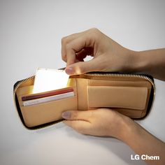 LG Chem OLED light panels are so thin that they could fit in your wallet! www.lgoledlight.com #LGChem #OLED #light #wallet