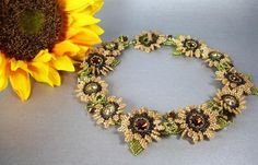 Tutorial for Tuscan Sunflowers collar Necklace by PeregrineBeader, $12.00
