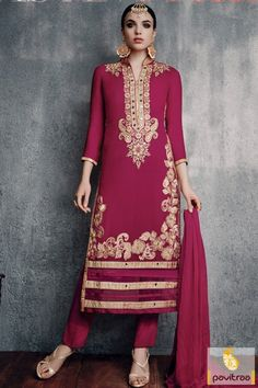 Uplift your modern style statement with amazing magenta color georgette santoon designer pakistani salwar suits online shopping with discount sale prices. A latest pakistani dress designed with embroidery pattern. #salwarsuit, #embroiderysalwarsuit more: http://www.pavitraa.in/store/embroidery-salwar-suit/