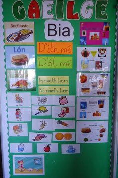 I teach one of the ten Gaeilge themes for 3 weeks at a time. I feel the class really learn this way. I display my Gaeilge theme for 3 week. Primary Teaching, Primary Lessons, Primary School, School Displays, Classroom Displays, Classroom Organization, Irish Gaelic Language, Gaelic Words, Infant Classroom