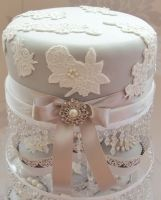 Romeo & Juliet Cakes - lace and pearls silver grey wedding top cutting tier cake with bow and brooch