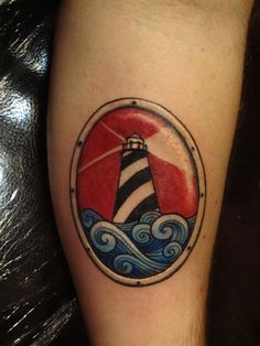 tattoo old school / traditional nautic ink - lighthouse @ arm