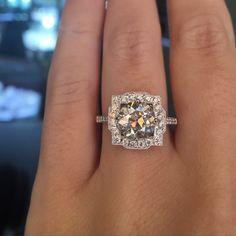 Old European Cut Diamond halo engagement ring