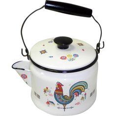 Berggren Enamelware Rooster Tea Pot / Kettle
