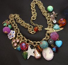 Graziano Necklace Vintage Charms Art Glass Beads Cloisonne Faux Pearl Cameo by BuyVintageJewelry, $75.00