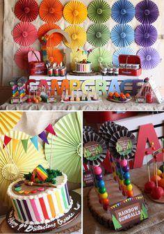 Camp Arts Crafts Rainbow Party via Karas Party Ideas KarasPartyIdeas.com #camp #arts #crafts #rainbow #party #idea #cake