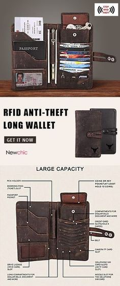Ekphero Men RFID Anti-theft Long Wallet Multi-pockets Card Holder sales at a wholesale price. Come to Newchic to buy a wallet, more cheap wallets for man are provided online. Card Wallet, Clutch Wallet, Mochila Edc, Mode Steampunk, Style Hipster, Things To Buy, Stuff To Buy, Pocket Cards, Long Wallet