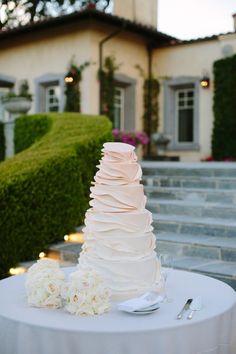 Ruffled Ombre Wedding Cake