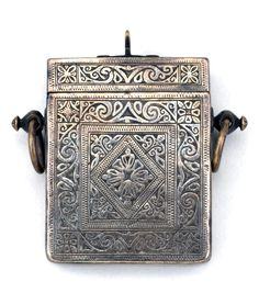 Morocco   Qur'an Box Pendant; brass with silver overlay   Ida ou Nadif. Anti Atlas Mountain region   ca. early 1900s