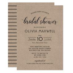 Chic Stripes Bridal Shower Invitation   Kraft - invitations custom unique diy personalize occasions