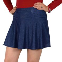 """Versatile, stretchy and functional, this medium-weight denim running skirt pairs perfectly with nearly any race shirt. Plus you'll love all the pockets! There are two 5x5"""" side pockets on the standard"""