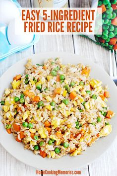 This Fried Rice with Egg recipe is an easy lunch or dinner idea that is delicious as a main dish or a side dish. You will only need a few ingredients: cooked rice, frozen peas and carrots, egg, oil, and soy sauce. Plus it's all cooked in one pan! Easy Rice Recipes, Rice Recipes For Dinner, Egg Recipes, Side Dish Recipes, Asian Recipes, Recipies, Fried Rice Recipe Egg, Fried Rice With Egg, Vegetable Fried Rice