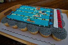 Swimmer pull apart cupcakes cake