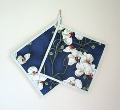 White Orchids on Dark Blue Potholders Set of by OrchidFabricDecor, $14.00